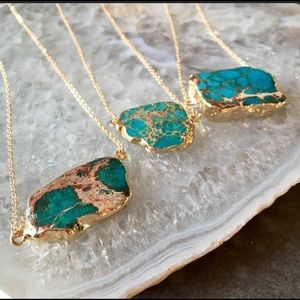 Raw Jasper Sea sediment Blue 18k EP gold necklace